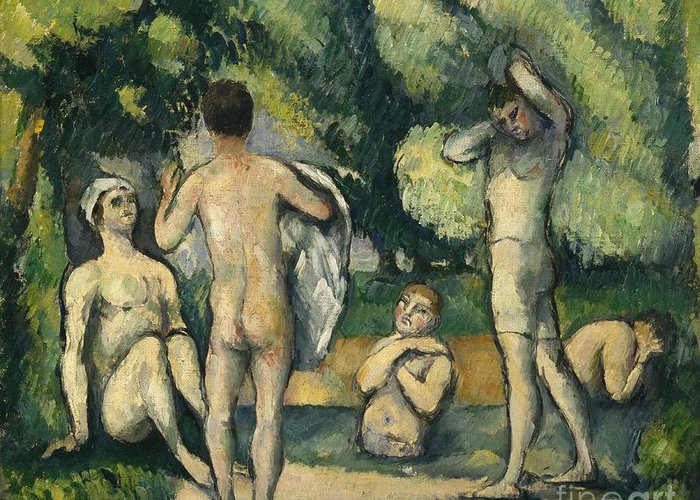 Bathers Greeting Card featuring the painting Bathers by Paul Cezanne