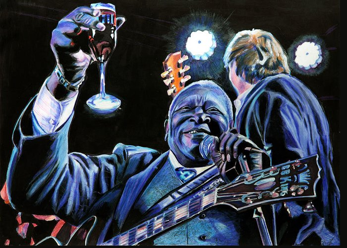 Bb King Greeting Card featuring the painting Bb King by Chris Benice
