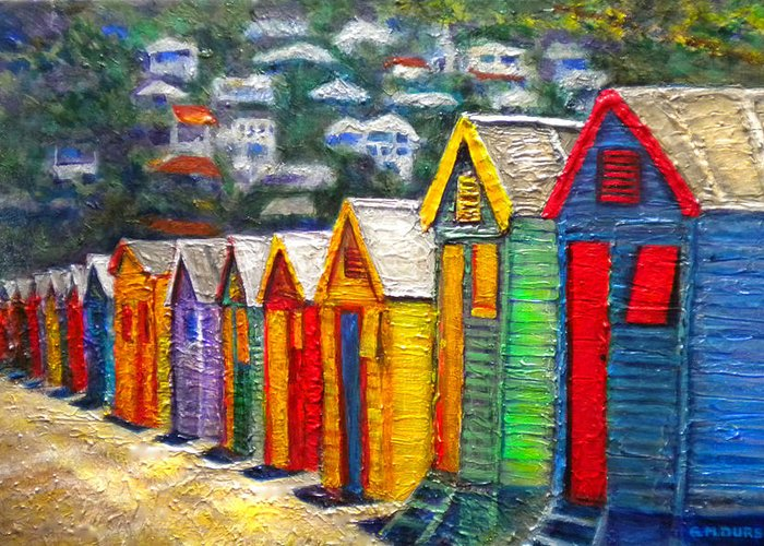 Beach Greeting Card featuring the painting Beach Houses At Fish Hoek by Michael Durst
