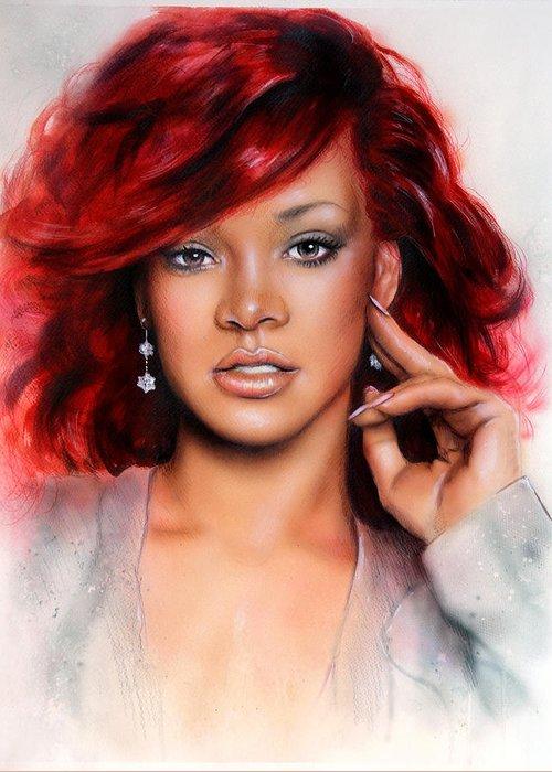 Art Greeting Card featuring the painting beautiful airbrush portrait of RihanA beautiful airbrush portrait of Rihanna with red hair and a fac by Jozef Klopacka