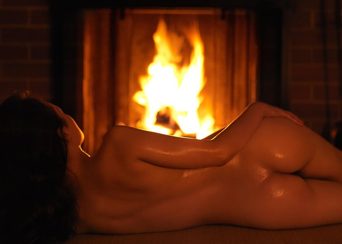 Beautiful Naked Woman In Front Of A Fireplace Greeting Card for ...