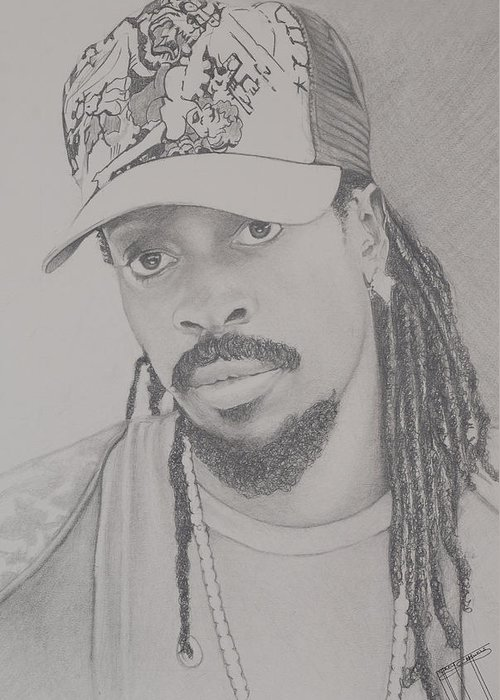 Greeting Card featuring the drawing Beenie Man by Jeffrey Samuels
