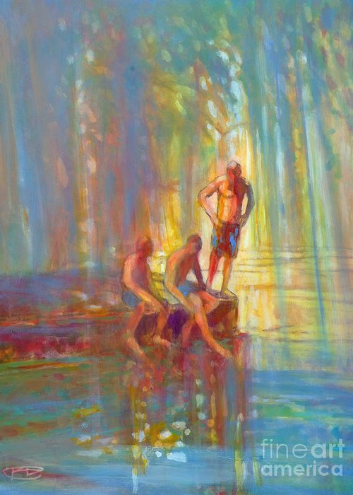Swimmers Greeting Card featuring the painting Before The Swim by Kip Decker