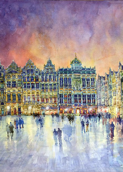 Watercolor Greeting Card featuring the painting Belgium Brussel Grand Place Grote Markt by Yuriy Shevchuk