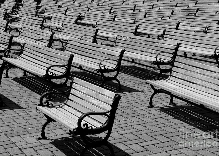Bench Greeting Card featuring the photograph Benches by Perry Webster