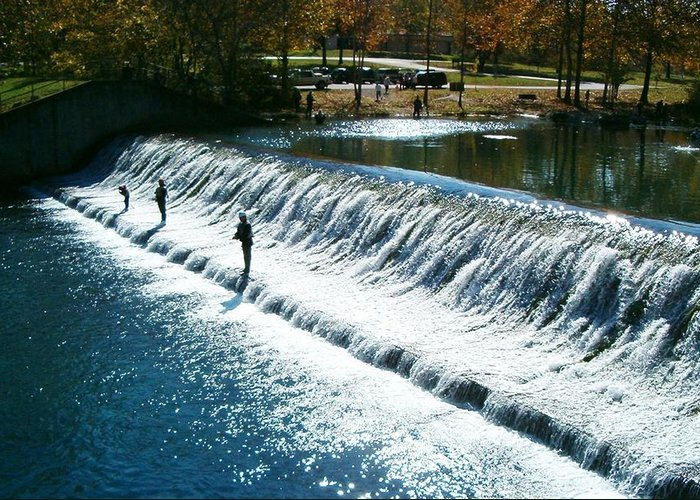 22b2a972f7 Bennett Springs Greeting Card featuring the photograph Bennett Springs  Spillway by Sara Raber