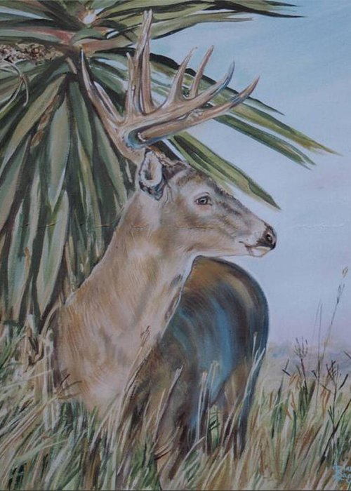 Animal Greeting Card featuring the painting Berry Buck by Diann Baggett