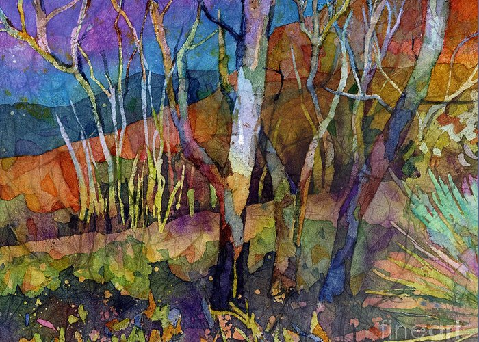 Trees Greeting Card featuring the painting Beyond The Woods by Hailey E Herrera