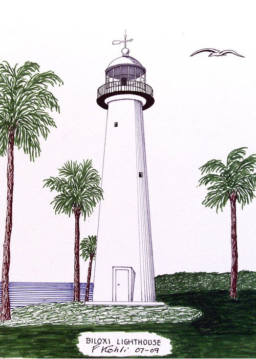Biloxi Lighthouse Drawing By Frederic Kohli
