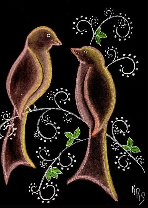 Bird Greeting Card featuring the drawing Bird Doodle by Karen R Scoville