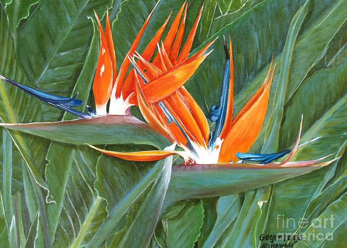 Floral Greeting Card featuring the painting Birds Of Paradise by Larry Geyrozaga