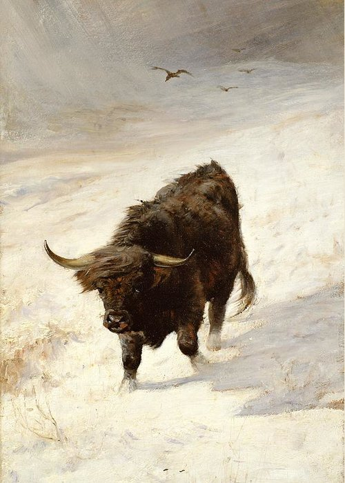 Black Beast Wanderer By Joseph Denovan Adam (1842-96) Greeting Card featuring the painting Black Beast Wanderer by Joseph Denovan Adam