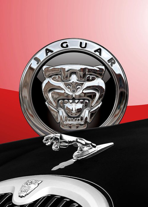 'auto Badges' Collection By Serge Averbukh Greeting Card featuring the photograph Black Jaguar - Hood Ornaments And 3 D Badge On Red by Serge Averbukh