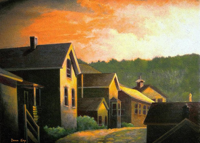 Colorado Mountains Old Houses Sunset New Mexico Sky Giclee Print Greeting Card featuring the painting Blackhawk Colorado Sunset by Donn Kay
