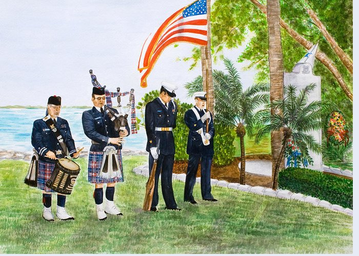 Coast Guard Greeting Card featuring the painting Blackthorn Memorial by Dorothy Riley