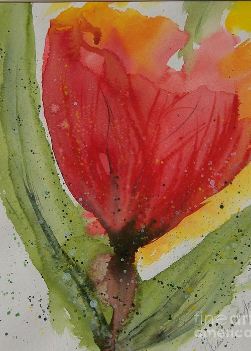 Fantasy Flower Greeting Card featuring the painting Blaze by Jackie Mueller-Jones