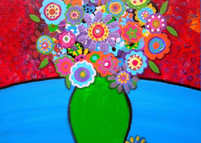 Pristine Greeting Card featuring the painting Blooms 3 by Pristine Cartera Turkus