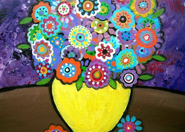 Pristine Greeting Card featuring the painting Blooms 6 by Pristine Cartera Turkus