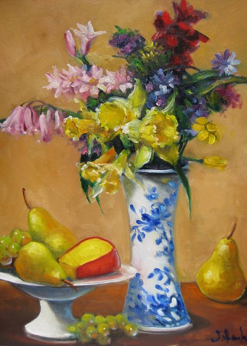 Still Life Greeting Card featuring the painting Blue And White Vase by Susan Jenkins