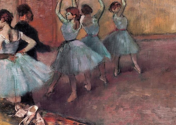 Impressionist Greeting Card featuring the painting Blue Dancers by Edgar Degas