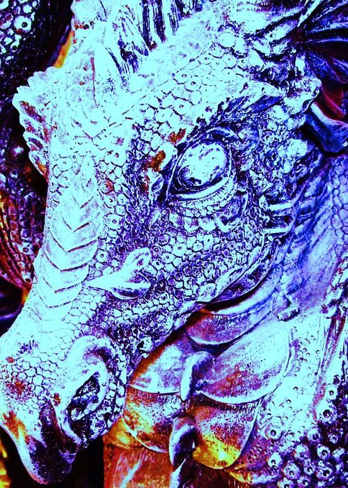 Dinosaur Greeting Card featuring the digital art Blue-dragon by Ramon Labusch