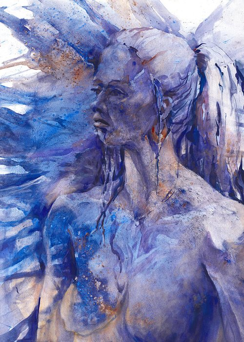 Joan Fuhrman Jones Greeting Card featuring the painting Blue Lady by Joan Jones