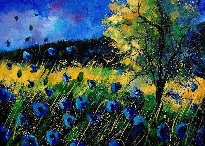 Poppies Greeting Card featuring the painting Blue Poppies by Pol Ledent