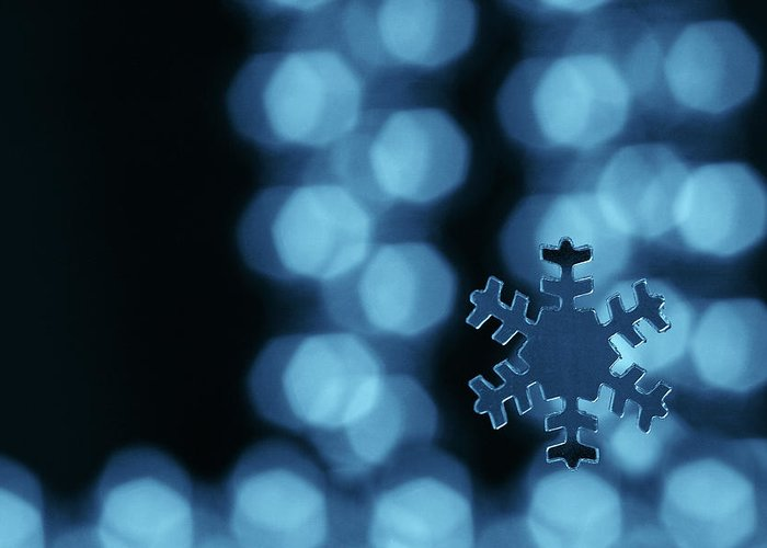 Snowflake Greeting Card featuring the photograph Blue Snowflake by Jouko Mikkola