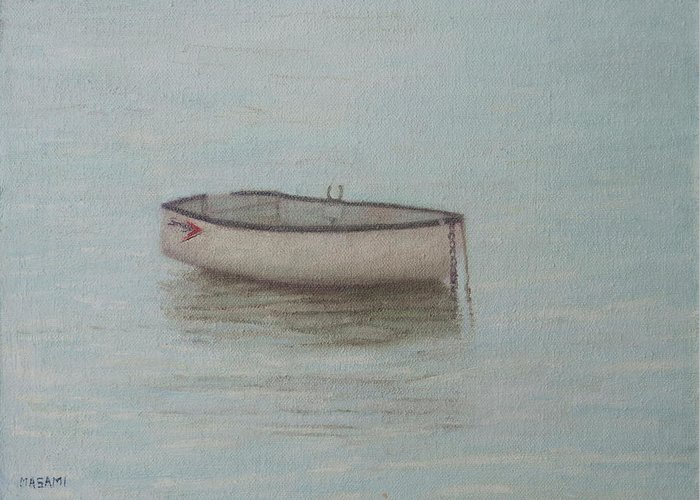Sea Greeting Card featuring the painting Boat by Masami Iida
