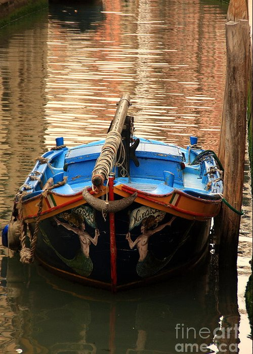 Venice Greeting Card featuring the photograph Boat On Canal In Venice by Michael Henderson