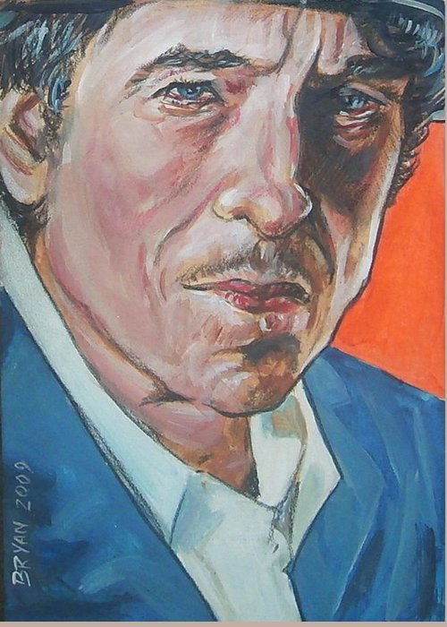 Bob Dylan Greeting Card featuring the painting Bob Dylan by Bryan Bustard