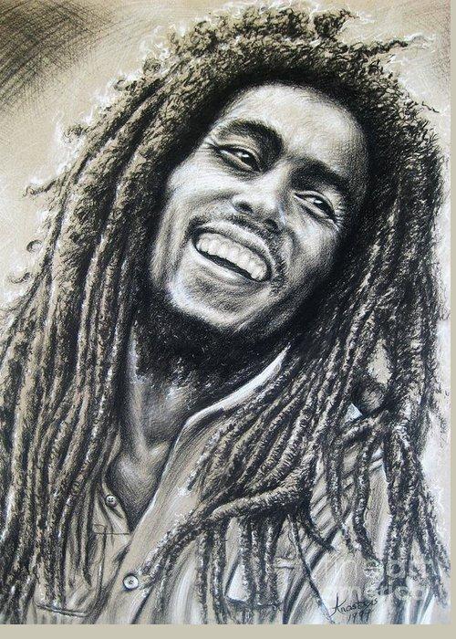 The Wailers.robert Nesta Marley Born February 6 Greeting Card featuring the painting Bob Marley by Anastasis Anastasi