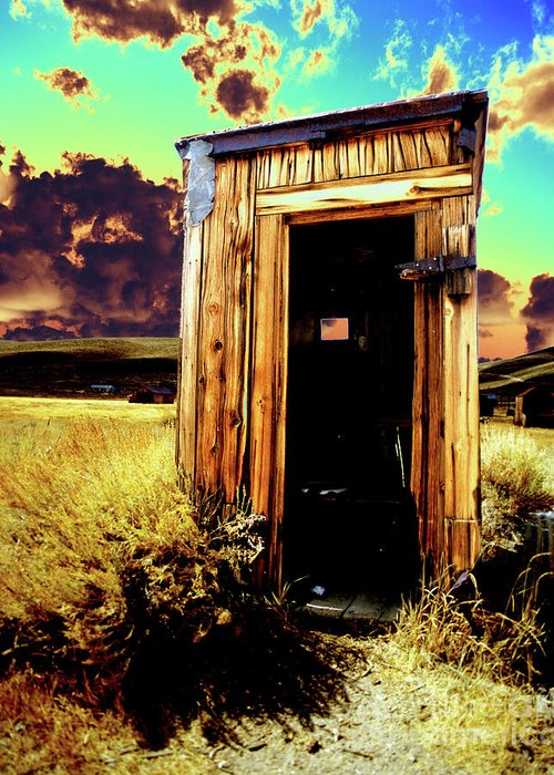 Bodie Greeting Card featuring the photograph Bodie Outhouse by Jim And Emily Bush