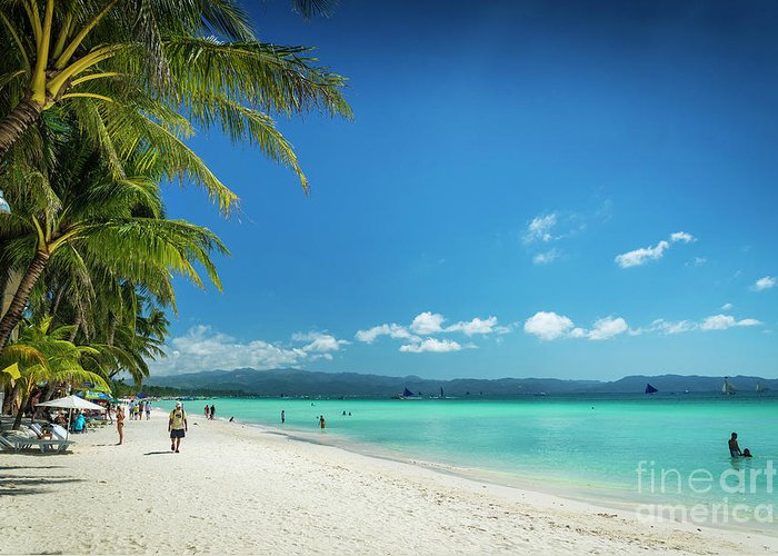 Asia Greeting Card featuring the photograph Boracay Island Tropical Coast Landscape In Philippines by Jacek Malipan