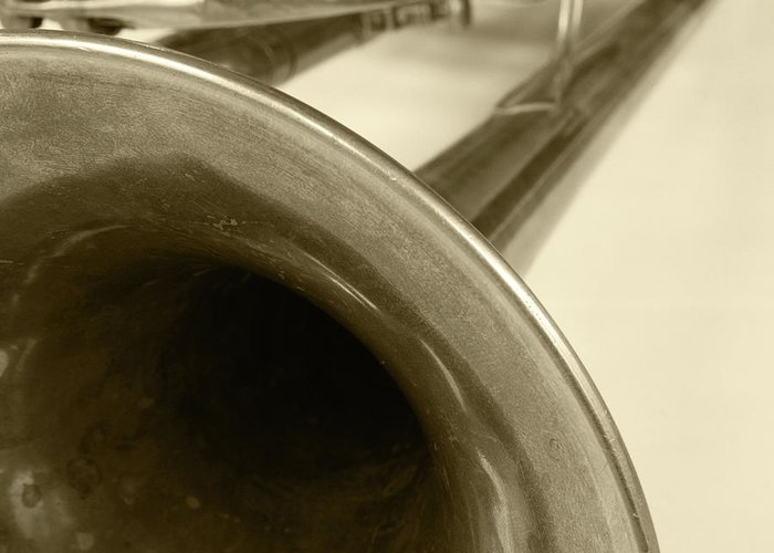 Trumpet Greeting Card featuring the photograph Brass Trumpet Bell And Tubing by Robert Hamm