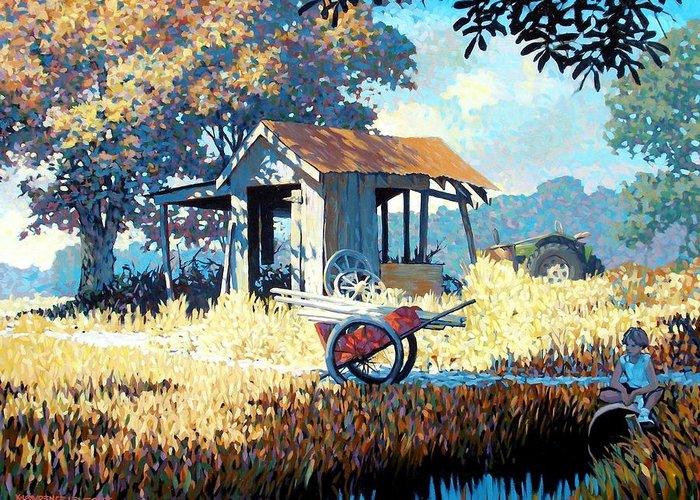 Cart Greeting Card featuring the painting Breaktime by Kevin Lawrence Leveque
