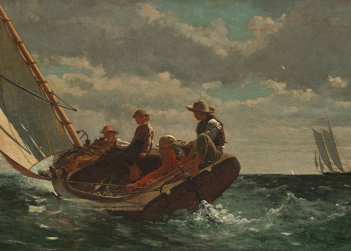 Breezing Up (a Fair Wind) By Winslow Homer Greeting Card featuring the painting Breezing Up by Winslow Homer
