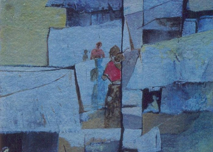Abstract Greeting Card featuring the painting Brides And Old Clothes by Prakash Sree S N