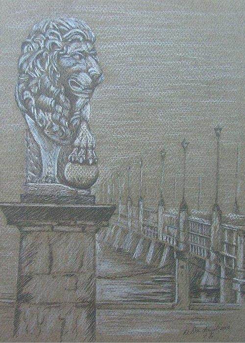 Bridge Greeting Card featuring the drawing Bridge Of Lions by Dan Hausel