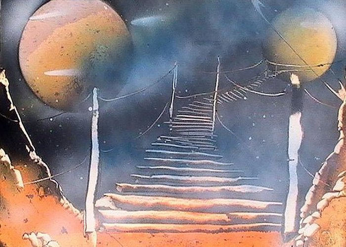Spray Paint Greeting Card featuring the painting Bridge To Space by My Imagination Gallery