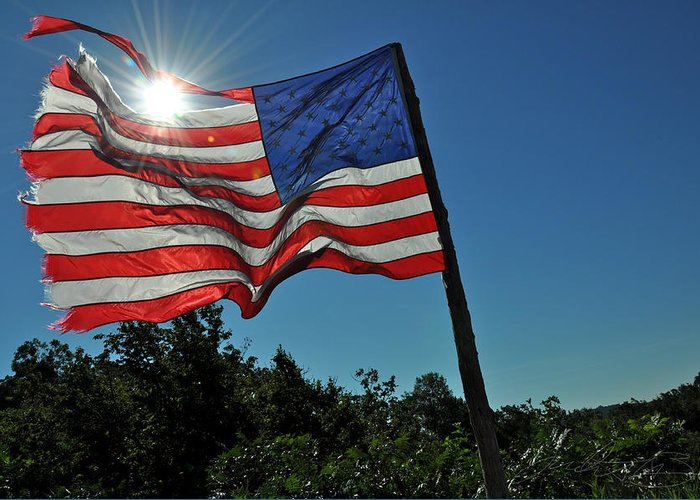 America Greeting Card featuring the photograph Bright And Glory by Judith Broyles