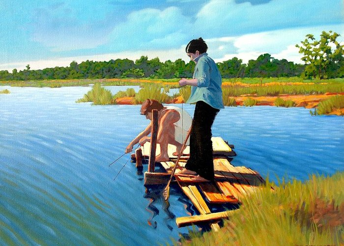 Water Greeting Card featuring the painting Bring The Bucket by Kevin Lawrence Leveque