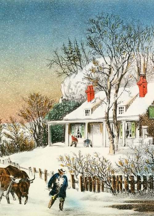 Bringing Greeting Card featuring the painting Bringing Home The Logs by Currier and Ives
