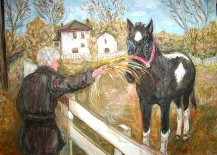 Horse Woman Feeding Horse Greeting Card featuring the painting Brown And White Horse by Joseph Sandora Jr