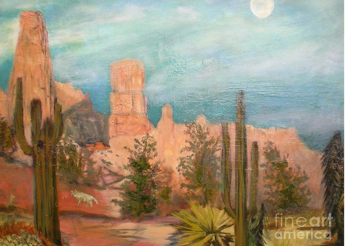 Dusk In The Desert Greeting Card featuring the painting Bryce Canyon by Hal Newhouser