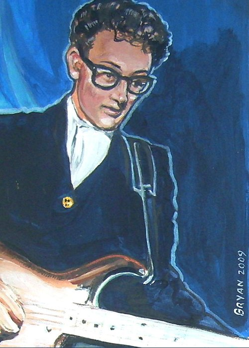 Buddy Holly Greeting Card featuring the painting Buddy Holly by Bryan Bustard