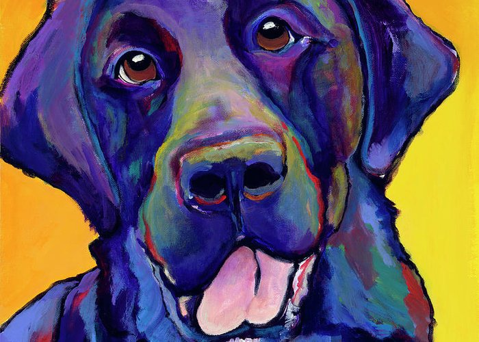 Labrador Rertrievers Greeting Card featuring the painting Buddy by Pat Saunders-White