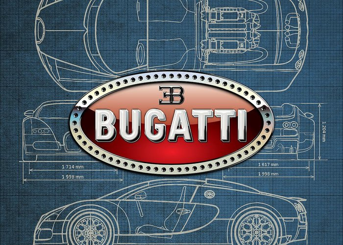 �wheels Of Fortune� By Serge Averbukh Greeting Card featuring the photograph Bugatti 3 D Badge over Bugatti Veyron Grand Sport Blueprint by Serge Averbukh