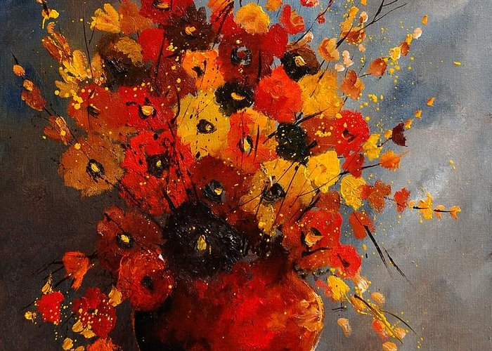 Flowers Greeting Card featuring the painting Bunch 0708 by Pol Ledent