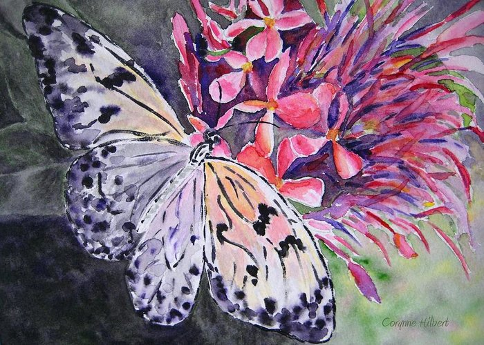 Butterfly Greeting Card featuring the painting Butterfly Enchantment by Corynne Hilbert